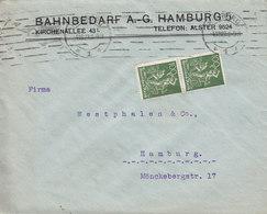 Germany Deutsches Reich BAHNBEDARF A.-G. TMS Cds. HAMBURG 1922 Cover Brief HAMBURG 2x 100 Pf. - Deutschland