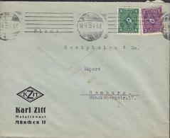 Germany Deutsches Reich KARL ZITT Metallkunst TMS Cds. MÜNCHEN 1922 Cover Brief HAMBURG 2M & 6M Stamps - Deutschland