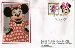JAPON. Tokyo Disney Land Minnie Mouse,  Sur Lettre Tokyo Adressée Indonesie - Disney