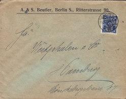 Germany Deutsches Reich A. & S. BEUTLER, BERLIN S. 1922 Cover Brief HAMBURG 6 Mark Stamp - Deutschland