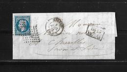 1861 FRANKREICH → Roanne à Charolles, Petits Chiffres 2691 Napoleon III. 20c Bleu   ►après Le Départ◄ - 1853-1860 Napoléon III