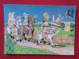 POSTAL POST CARD CARTE POSTALE BALEARIC ISLANDS SPAIN BURRO BURRITO PLAY DONKEY ASNO ÂNE ASINO CARTOON EROTIC NUDE WOMEN - Burros