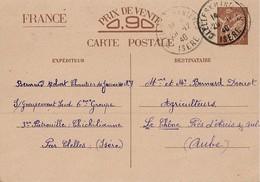 Entier Postal 90c Iris Chantier De Jeunesse 9 - Poststempel (Briefe)