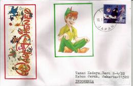 JAPON. Peter Pan's Flight | Tokyo Disneyland,   Sur Lettre Tokyo Adressée Indonesie - Disney