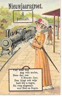 Train, Locomotive, Zug, Lokomotive, Treno, Locomotiva, Railway Station, Gare, Elegant Woman, Femme Elegante, Calender - Nieuwjaar