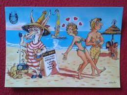POSTAL POST CARD CARTE POSTALE BALEARIC ISLANDS SPAIN BURRO BURRITO PLAY DONKEY ASNO ÂNE ASINO CARTOON HUMOR LOVE GIRL - Burros