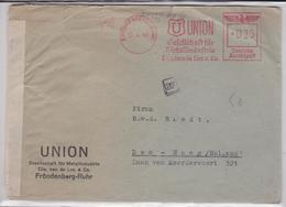 BRIEF DEUTSCHE REICHSPOST REICH FRÖNDENBERG-RUHR 30.04.1941 UNION METALLINDUSTRIE DE HAAG METER MAIL MACHINE MARK 37 - Allemagne
