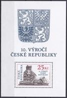 Tschechien Czechia 2003 Geschichte History Republik Republic Löwe Lion Wappen Arms, Bl. 18 ** - Tschechische Republik