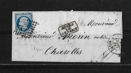 1857 FRANKREICH → Lyon à Charolles, Petits Chiffres 1818 Napoleon III. 20c Bleu   ►après Le Départ◄ - 1853-1860 Napoléon III