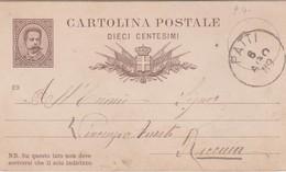 Italy 1889 Cartolina Postale Cmi 10 Da Patti A Rimini - 1878-00 Umberto I