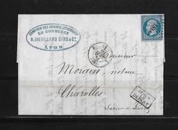 1861 FRANKREICH → Lyon à Charolles, Petits Chiffres 1818 Napoleon III. 20c Bleu   ►après Le Départ◄ - 1853-1860 Napoléon III