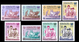 Afghanistan, 1964, Human Rights, UNESCO, United Nations, MNH Overprinted, Michel 880-887 - Afghanistan