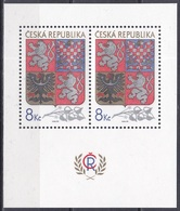 Tschechien Czechia 1993 Geschichte History Wappen Arms Staatswappen Löwe Lion Adler Eagle, Bl. 1 ** - República Checa