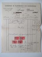 VP FACTURE (M1617) JUMET (2 VUES) LOUIS PIRSON Entreprise De Plafonnage & De Blanchissage 1937 - Belgique
