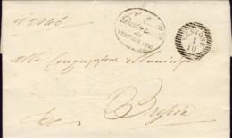 1851-Vestone (Brescia) Lettera Con Testo, Bollo A Linee Orizzontali Vestone 1/10 - Italia