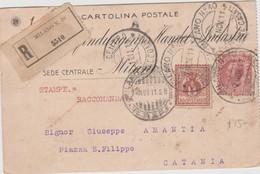 Italy 1911 Cartolina Postale Raccomandata Da Milano Per Catania - 1900-44 Vittorio Emanuele III
