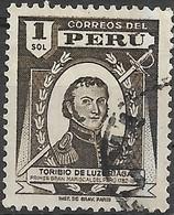PERU 1938 Portrait Of Toribio De Luzuriaga - 1s - Brown FU - Peru