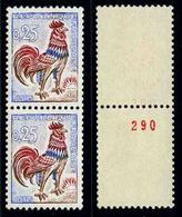 FRANCE - COQ DECARIS - YT 1331b ** - PAIRE DE TIMBRES NEUFS ** DE ROULETTE DONT 1 AVEC NUMERO ROUGE - 1962-65 Cock Of Decaris
