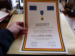 Diplome Brevet Médaille Du Combattant Pour L'Europe Section Belge Des Anciens Combattants Et Des Militaires - Diploma & School Reports