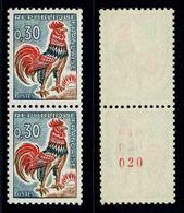 FRANCE - COQ DECARIS - YT 1331Ab ** - PAIRE DE TIMBRES NEUFS ** DE ROULETTE DONT 1 AVEC NUMERO ROUGE - 1962-65 Cock Of Decaris