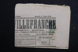FRANCE - Type Napoléon (1ct) En Paire Sur Journal De Villefranche En 1872 - L 23153 - Marcophilie (Lettres)