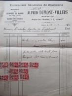 VP FACTURE (M1617) JUMET Place De L'Altrée  (2 VUES) ALFRED DUMONT = VILLERS Marbrerie 1936 - Belgique