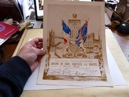 Diplome Croix D'Honneur Avec Rosette Association Franco-Britannique Service à La Cause Des Alliés Paris 1977 - Diploma & School Reports