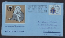 Vatican: Stationery Aerogramme To Germany, 1991, Year Of Alphabetisation, Art, Air Letter (traces Of Use) - Vaticaanstad
