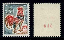 FRANCE - COQ De DECARIS - YT 1331Ab ** - TIMBRE DE ROULETTE AVEC NUMERO ROUGE NEUF ** - 1962-65 Cock Of Decaris