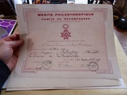 Diplome Mérite Philanthropique Croix De Chevalier Lille 1978 - Diploma & School Reports