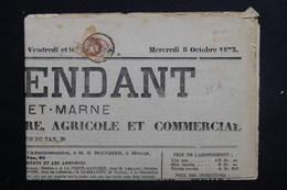 FRANCE - Type Napoléon 2ct Sur Journal L'Indépendant En 1873 - L 23155 - Marcophilie (Lettres)