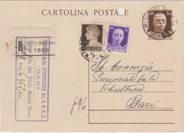 Italy 1919 Cartolina Postale Cent 30 Plus 10c And 50c Raccomandata From Bari To Bari - 1900-44 Vittorio Emanuele III