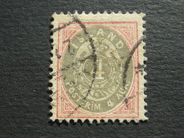 ISLAND , 4 Aur   Rosa/grau   , Gestempelt , Schönes Stück - Oblitérés