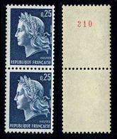 FRANCE - MARIANNE DE CHEFFER - YT 1535a ** - PAIRE DE TIMBRES NEUFS ** DE ROULETTE DONT 1 AVEC NUMERO ROUGE - 1967-70 Marianna Di Cheffer