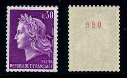 FRANCE - MARIANNE DE CHEFFER - YT 1536b ** - TIMBRE DE ROULETTE AVEC NUMERO ROUGE NEUF ** - 1967-70 Marianna Di Cheffer