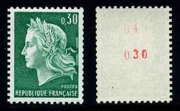 FRANCE - MARIANNE DE CHEFFER - YT 1536Ab ** - TIMBRE DE ROULETTE AVEC NUMERO ROUGE NEUF ** - 1967-70 Marianna Di Cheffer