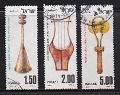ISRAEL, 1977, Used Stamp(s), Without Tab, Ancient Musical Instruments, SG664-666, Scannr. 17478 - Israel