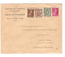 PR6346/ 528-570-424-425 S/L.Administration Communale D'Anvers C.Antwerpen 1941 V.Argentina Censure 'b'bande & Cachet - WW II