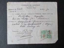 VP QUITTANCE (M1617) COMMUNE DE DAMPREMY (2 VUES) Achat D'un Baraquement (Wagon) Cité DANDOY Exercice 1935 - Belgique