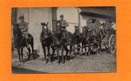 CARTE PHOTO -  ALLEMAGNE - MILITARIA - WWI - SOLDATS ALLEMANDS SUR ATTELAGE TIRE PAR 4 CHEVAUX - Guerre 1914-18