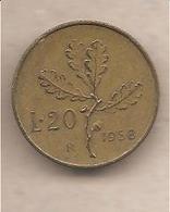 """Italia - Moneta Circolata Da 20 Lire """"Ramo Di Quercia"""" - 1958 - 20 Lire"""