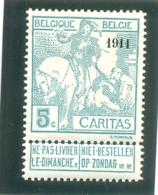 1911 BELGIQUE Y & T N° 96 ( * ) Caritas 1911 5c - 1910-1911 Caritas