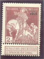 1911 BELGIQUE Y & T N° 95 ( * ) Caritas 1911 2 C - 1910-1911 Caritas