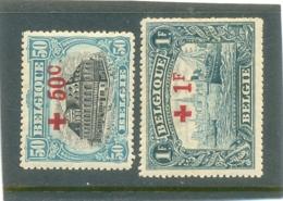 1918 BELGIQUE Y & T N° 159 - 160 ( O ) Surchargés Croix Rouge 50 C - 1 F - 1912 Pellens