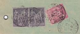 10c X 2 50c Sage Perforés S / Etiquette Chargé T.P. Ob Verdun Su Meuse 23 Dec 99 - Marcophilie (Lettres)