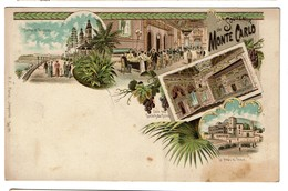 Carte Litho - Souvenir De Monte-Carlo - Au Dos Pub Cinéma Krüger Anvers-Bruxelles-Liège-Verviers - 2 Scans - Monte-Carlo