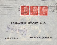 Spain Boxed (Purple) Por Avion TMS Cds. Avion MADRID 1956 Cover Letra FRANKFURT Germany 3-Stripe Franco - 1951-60 Briefe U. Dokumente