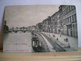 Pisa - Lungarno Mediceo - Animata - Barca - Carrozza - Auto D'epoca - Ed. E. Cappelletti - Cartolina D'epoca - Pisa