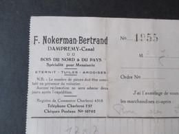 VP FACTURE (M1617) DAMPREMY - CANAL (2 VUES) F. Nokerman-Bertrand Eternit Tuiles Ardoises 1933 - Belgique