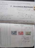 VP FACTURE (M1617) DAMPREMY - PONT DU CANAL (2 VUES) F. Nokerman-Bertrand Eternit Tuiles Ardoises 1933 C - Belgique